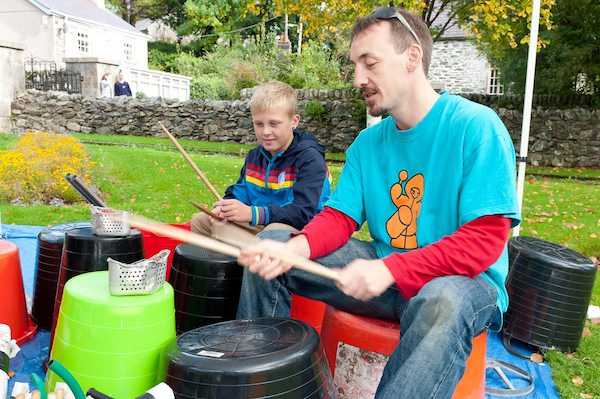 Junk percussion workshops North Wales